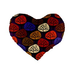 Colorful Trees Background Pattern Standard 16  Premium Flano Heart Shape Cushions by BangZart