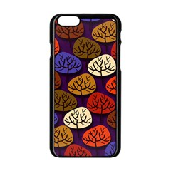 Colorful Trees Background Pattern Apple Iphone 6/6s Black Enamel Case by BangZart