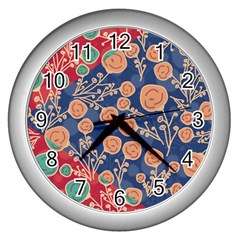 Floral Seamless Pattern Vector Texture Wall Clocks (silver)  by BangZart