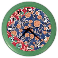 Floral Seamless Pattern Vector Texture Color Wall Clocks by BangZart