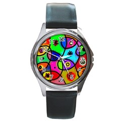 Digitally Painted Colourful Abstract Whimsical Shape Pattern Round Metal Watch
