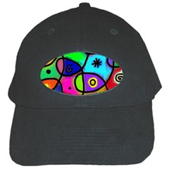Digitally Painted Colourful Abstract Whimsical Shape Pattern Black Cap by BangZart