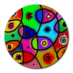 Digitally Painted Colourful Abstract Whimsical Shape Pattern Round Mousepads
