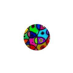 Digitally Painted Colourful Abstract Whimsical Shape Pattern 1  Mini Buttons by BangZart