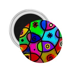 Digitally Painted Colourful Abstract Whimsical Shape Pattern 2 25  Magnets by BangZart