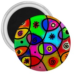 Digitally Painted Colourful Abstract Whimsical Shape Pattern 3  Magnets by BangZart
