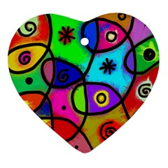 Digitally Painted Colourful Abstract Whimsical Shape Pattern Ornament (heart) by BangZart