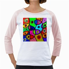 Digitally Painted Colourful Abstract Whimsical Shape Pattern Girly Raglans