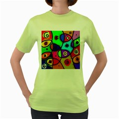 Digitally Painted Colourful Abstract Whimsical Shape Pattern Women s Green T Shirt
