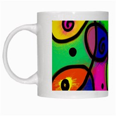 Digitally Painted Colourful Abstract Whimsical Shape Pattern White Mugs by BangZart
