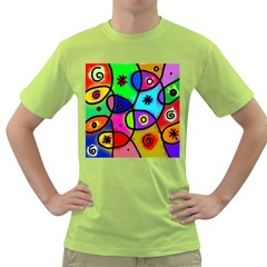 Digitally Painted Colourful Abstract Whimsical Shape Pattern Green T Shirt