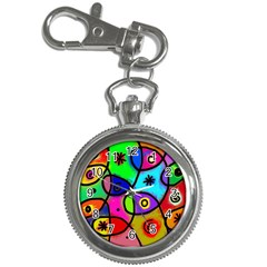 Digitally Painted Colourful Abstract Whimsical Shape Pattern Key Chain Watches by BangZart