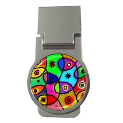 Digitally Painted Colourful Abstract Whimsical Shape Pattern Money Clips (round)