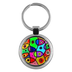 Digitally Painted Colourful Abstract Whimsical Shape Pattern Key Chains (round)  by BangZart