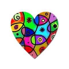 Digitally Painted Colourful Abstract Whimsical Shape Pattern Heart Magnet by BangZart