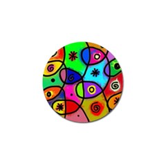 Digitally Painted Colourful Abstract Whimsical Shape Pattern Golf Ball Marker by BangZart