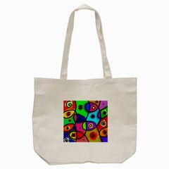 Digitally Painted Colourful Abstract Whimsical Shape Pattern Tote Bag (cream)