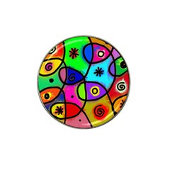 Digitally Painted Colourful Abstract Whimsical Shape Pattern Hat Clip Ball Marker (4 Pack) by BangZart