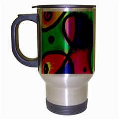 Digitally Painted Colourful Abstract Whimsical Shape Pattern Travel Mug (silver Gray) by BangZart