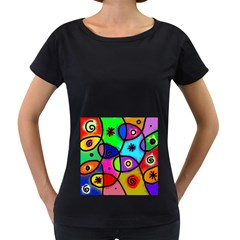 Digitally Painted Colourful Abstract Whimsical Shape Pattern Women s Loose Fit T Shirt (black) by BangZart
