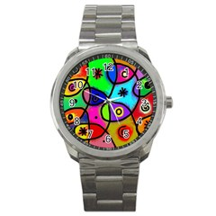 Digitally Painted Colourful Abstract Whimsical Shape Pattern Sport Metal Watch by BangZart
