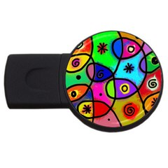 Digitally Painted Colourful Abstract Whimsical Shape Pattern Usb Flash Drive Round (4 Gb) by BangZart