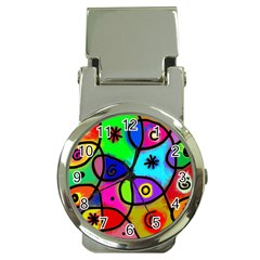 Digitally Painted Colourful Abstract Whimsical Shape Pattern Money Clip Watches by BangZart