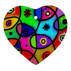 Digitally Painted Colourful Abstract Whimsical Shape Pattern Heart Ornament (two Sides)