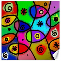 Digitally Painted Colourful Abstract Whimsical Shape Pattern Canvas 12  X 12