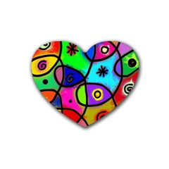 Digitally Painted Colourful Abstract Whimsical Shape Pattern Rubber Coaster (heart)  by BangZart