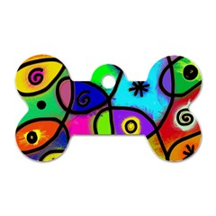 Digitally Painted Colourful Abstract Whimsical Shape Pattern Dog Tag Bone (two Sides) by BangZart