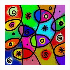 Digitally Painted Colourful Abstract Whimsical Shape Pattern Medium Glasses Cloth by BangZart