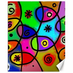 Digitally Painted Colourful Abstract Whimsical Shape Pattern Canvas 11  X 14