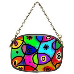 Digitally Painted Colourful Abstract Whimsical Shape Pattern Chain Purses (two Sides)  by BangZart