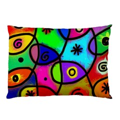 Digitally Painted Colourful Abstract Whimsical Shape Pattern Pillow Case by BangZart