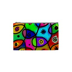 Digitally Painted Colourful Abstract Whimsical Shape Pattern Cosmetic Bag (small)