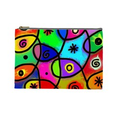 Digitally Painted Colourful Abstract Whimsical Shape Pattern Cosmetic Bag (large)  by BangZart