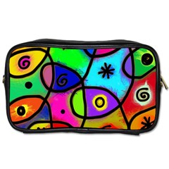 Digitally Painted Colourful Abstract Whimsical Shape Pattern Toiletries Bags