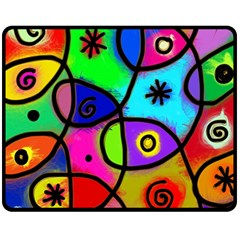 Digitally Painted Colourful Abstract Whimsical Shape Pattern Fleece Blanket (medium)  by BangZart