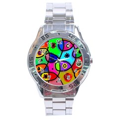 Digitally Painted Colourful Abstract Whimsical Shape Pattern Stainless Steel Analogue Watch by BangZart