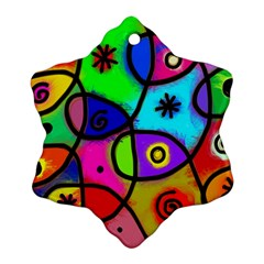 Digitally Painted Colourful Abstract Whimsical Shape Pattern Snowflake Ornament (two Sides) by BangZart