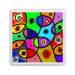 Digitally Painted Colourful Abstract Whimsical Shape Pattern Memory Card Reader (square)  by BangZart