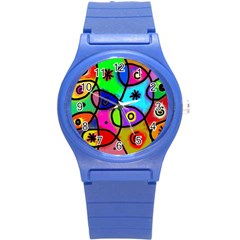 Digitally Painted Colourful Abstract Whimsical Shape Pattern Round Plastic Sport Watch (s) by BangZart