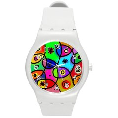 Digitally Painted Colourful Abstract Whimsical Shape Pattern Round Plastic Sport Watch (m)