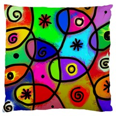 Digitally Painted Colourful Abstract Whimsical Shape Pattern Large Cushion Case (two Sides) by BangZart