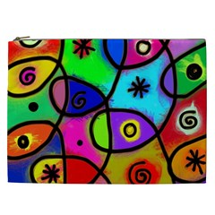 Digitally Painted Colourful Abstract Whimsical Shape Pattern Cosmetic Bag (xxl)  by BangZart
