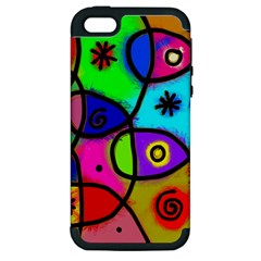 Digitally Painted Colourful Abstract Whimsical Shape Pattern Apple Iphone 5 Hardshell Case (pc+silicone) by BangZart