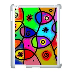 Digitally Painted Colourful Abstract Whimsical Shape Pattern Apple Ipad 3/4 Case (white) by BangZart