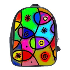 Digitally Painted Colourful Abstract Whimsical Shape Pattern School Bags (xl)
