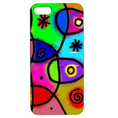 Digitally Painted Colourful Abstract Whimsical Shape Pattern Apple Iphone 5 Hardshell Case With Stand by BangZart